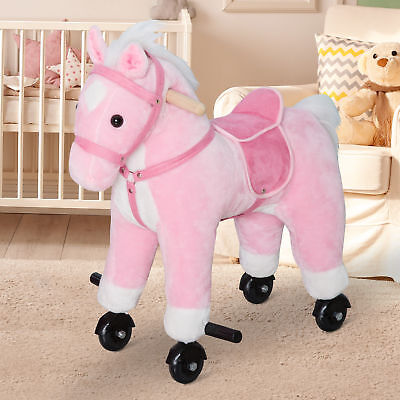 Kids Plush Toy Ride on Walking Horse Rolling Pony with 4 Wheels &Sound Pink