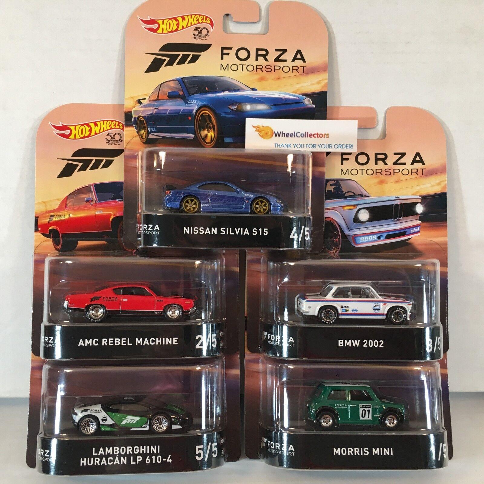 5 Car Set New!  * 2018 Hot Wheels Retro FORZA Case J w/ Silvia * IN STOCK