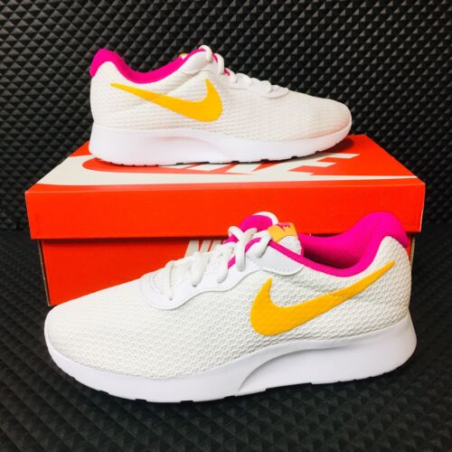 Nike Tanjun Air Zoom Women Running Shoes White Gold Pink Ath