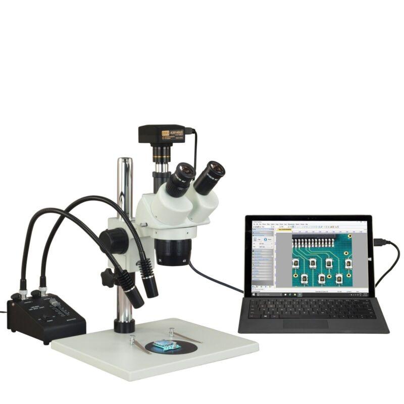 Trinocular 10X-20X-40X-80X 5MP USB3 Digital Stereo Microscope+6W Gooseneck Light