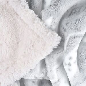 Super Soft and Plush Sherpa Snowflake Horse Throw Blanket 50 x 60 Inches