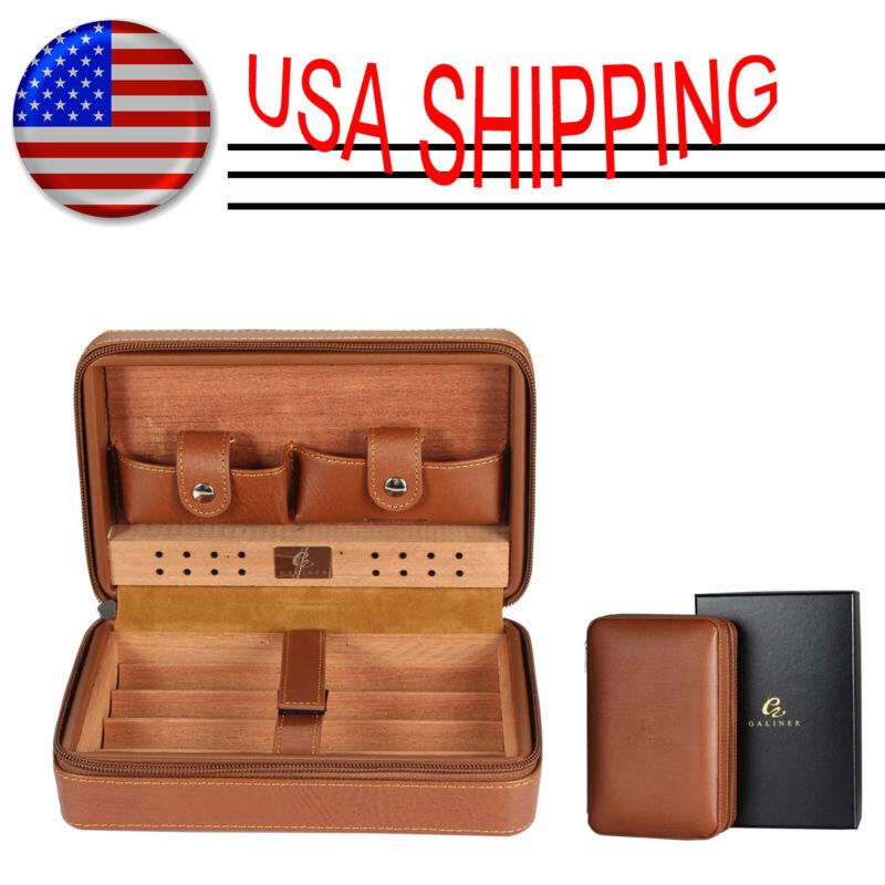 Galiner Cigar Case Portable Cedar Wood Leather Travel Humidor Box 4 Cigars Brown