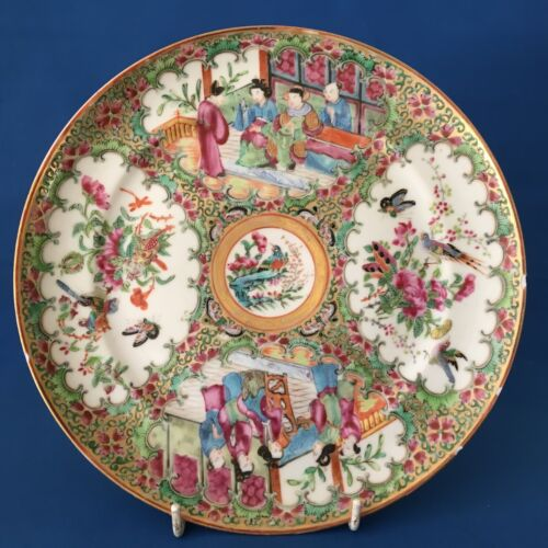 Antique Chinese Canton Famille Rose Porcelain Plate 19th C QING