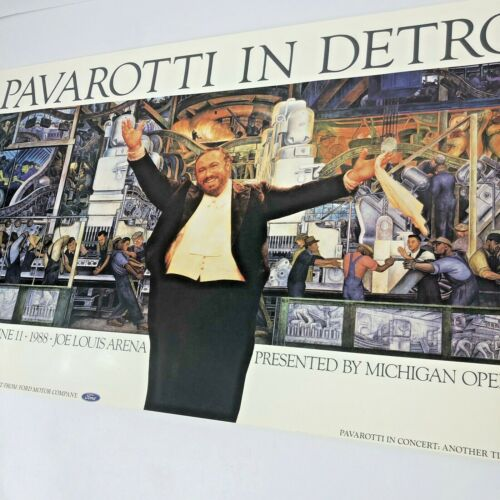 Pavarotti In Detroit Vintage Poster Diego Rivera Joe Louis Arena 1988 Michigan