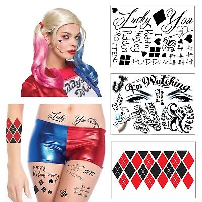 Harley Quinn Full Body Temporary Tattoo Bundle - 3 Sheets w/ 24 Tats - Costume - Harley Quinn Tattoo