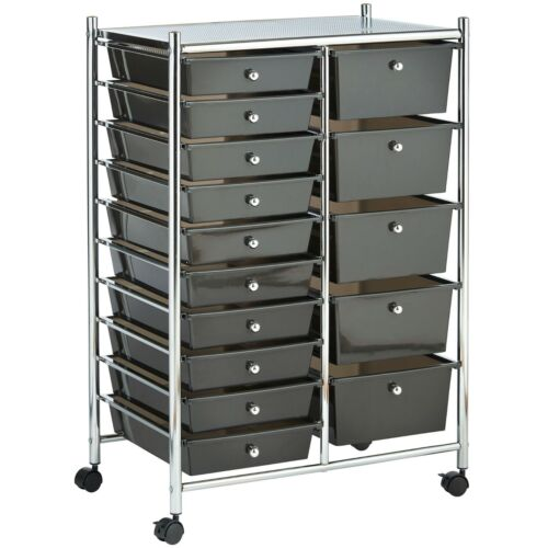 VonHaus 15 Drawer Mobile Storage Trolley for Home Office & Beauty Salon - Black