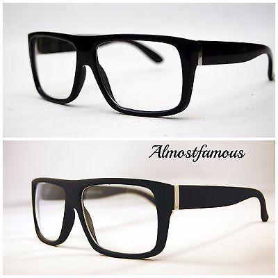Men's Women vintage retro Style Clear Lens eye glasses thick black fashion frame