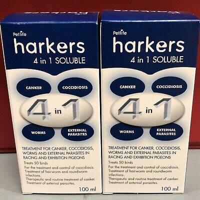 2 x Harkers 4 in 1 Pigeon Internal External Parasites Coccidiois Canker Worms