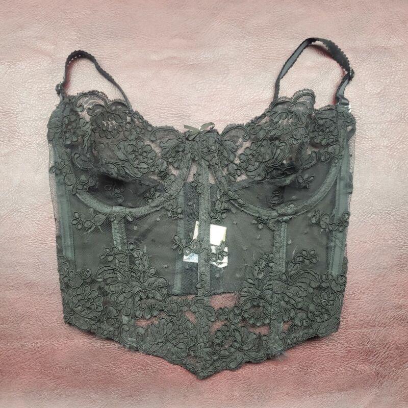 Vintage Victoria's Secret Gold Label Bustier Coset Black Lace Size 34C