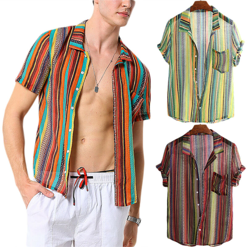 Blouse Men Stylish Tee Slim Fit Casual T-shirts Striped Shirt Short Sleeve Tops