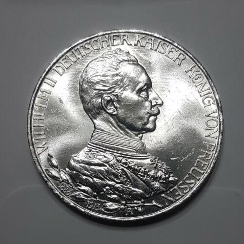 1913-A Germany Prussia Silver 3 Mark. Gem BU+. - 191