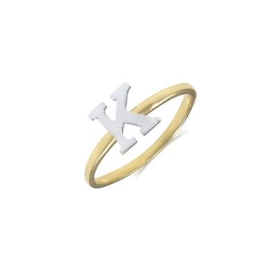 14K Solid Yellow White Gold Initial Letter Ring -A-Z Any Alphabet Band Women Men