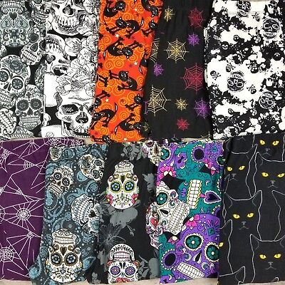 Halloween Leggings Spooky Skull Spider Web Black Cats Buttery Soft OS and - Halloween Leggings