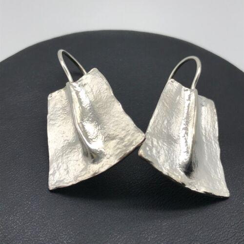 925 Sterling Silver Israel Vintage Shiny Modernist Drop Earrings