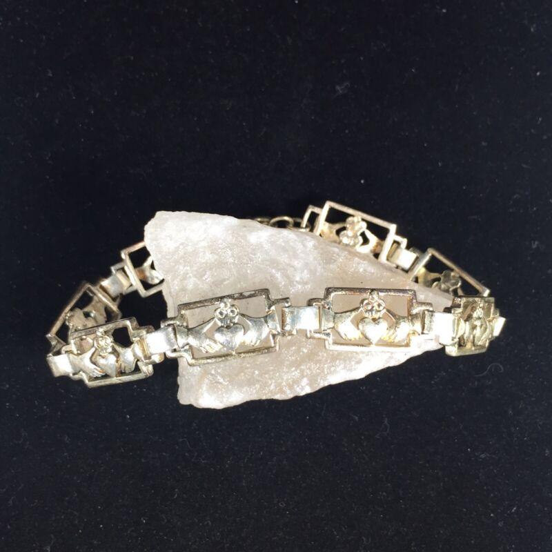 "Vintage Sterling Silver Claddagh Bracelet Panel Celtic Irish Wedding Heart 8"""