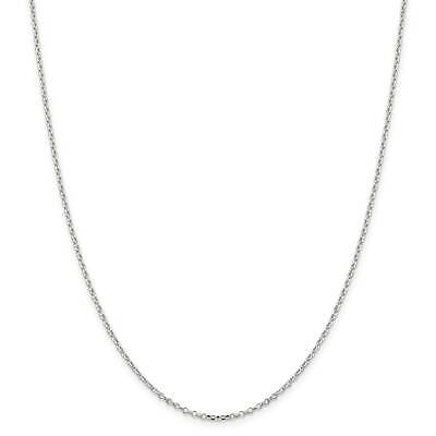 "Sterling Silver 1.7mm 8 Side Diamond-Cut Cable Link Chain Necklace 16"" - 30"""