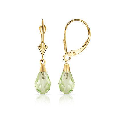 - Tear Drop Shaped Light Peridot Dangle Drop Leverback Earrings 14K Yellow Gold