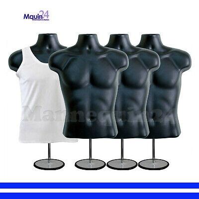 4 Male Torso Dress Mannequins In Black W 4 Stands 4 Hangers - Men Dress Forms
