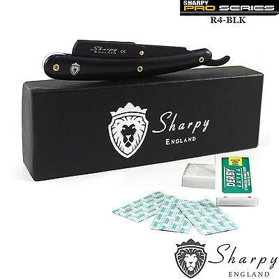 SHARPY BLACK BARBER SALON STRAIGHT CUT THROAT WET SHAVING RAZOR + 10 Free blades