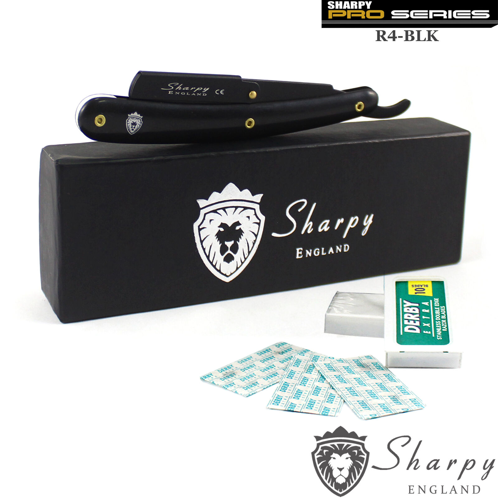 SHARPY BLACK BARBER SALON STRAIGHT CUT THROAT WET SHAVING RAZOR + 10 Free blades