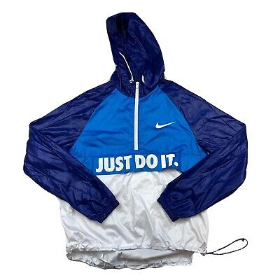 Nike Track Jacket Mens Medium Just Do It Swoosh Graphic 1/4 Zip Windbreaker