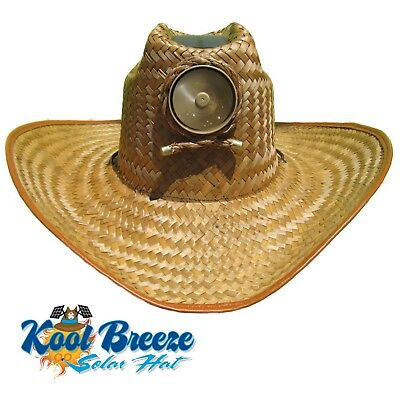 Mens Kool Breeze Solar Cowboy Hat,Straw hat,Cowboy hat,Solar Cooling Hat, Solar ()