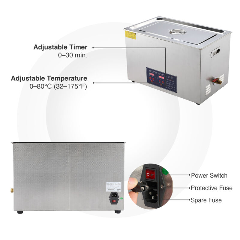 Ultrasonic Cleaner Stainless Steel Industry Heated Heater W/Timer 30L - $87.82