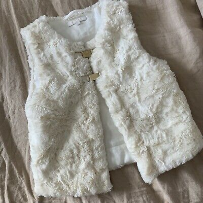 Chloé Kids Faux Fur Vest Magnetic Closure Soft Cozy Girls Size 4