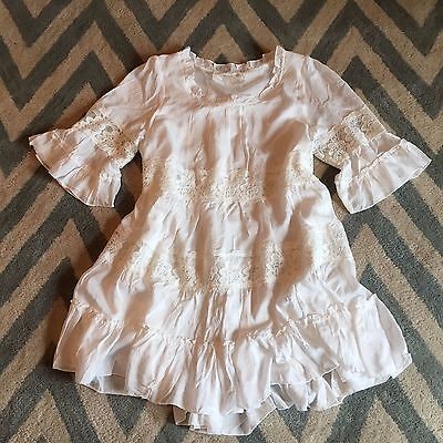 S New Anthropologie Womens Bohemian White Tiered Lace Tunic Top Dress   Small