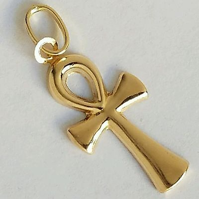 14k Ankh Cross Pendant - New  Solid 14k yellow Gold Egyptian Cross ankh Pendant 1.20 inch long ON SALE NW