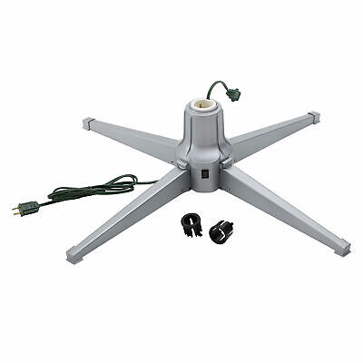 Home Heritage Electric Metal Rotating Tree Stand 7 Ft Tree, Silver (For Parts)