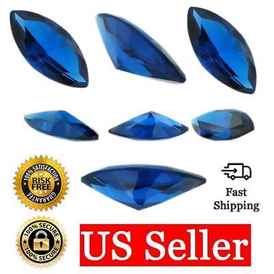 Loose Marquise Cut Sapphire CZ Stone Single Blue Cubic Zirconia Sept. Birthstone ()