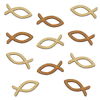 Holz Fische - Verzierung Streudeko Taufe, Kommunion und Konfirmation - Echtholz