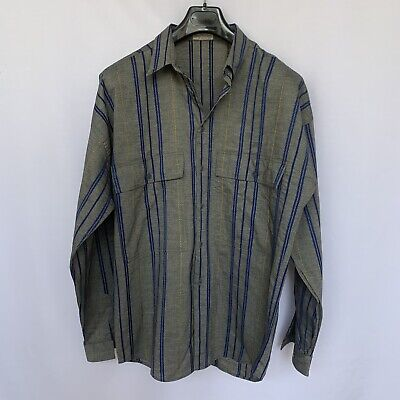 GIANNI VERSACE SHIRT 50 IT/ L PLAID GRAY LONG SLEEVE BUTTON DOWN MADE IN ITALY