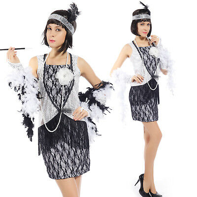 Ladies 20s Vintage Flapper Dress Charleston Gatsby outfit Fringe Tassel Costume