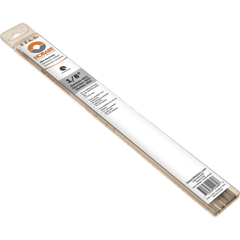 Hobart Stick Electrodes- Aluminum 4043 1/8in dia. x 14inL 10-Ct. Pkg.