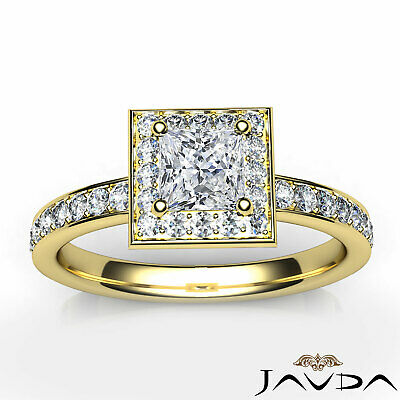 Halo Cathedral Micro Pave Princess Cut Diamond Engagement Ring GIA F SI1 0.95Ct 3