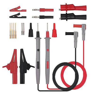 For Fluke Multimeter Test Lead Kit 4mm Banana Plug Probe Tip Alligator Clip Set