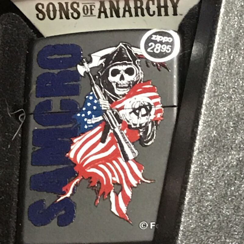 Zippo Black Metal Fire Lighter -(Sons of Anarchy)Samcro Reaper with Flag New FOX