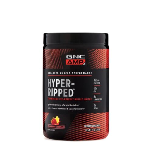 GNC AMP Hyper-Ripped Strawberry Lemonade 24 Servings Thermog