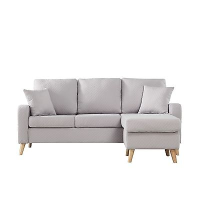Modern Furniture Small Space Sectional Sofa with Reversible Chaise in Light Grey