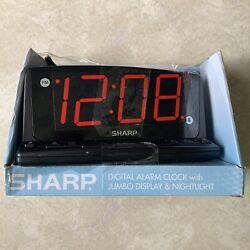 Sharp LED Alarm Clock with Nightlight and Jumbo Display (J)