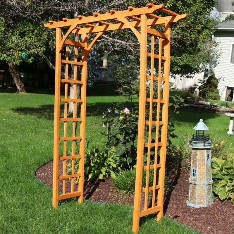 "Sunnydaze Wooden Garden Arbor Trellis Arch for Plants - Outdoor Archway - 78"" H"