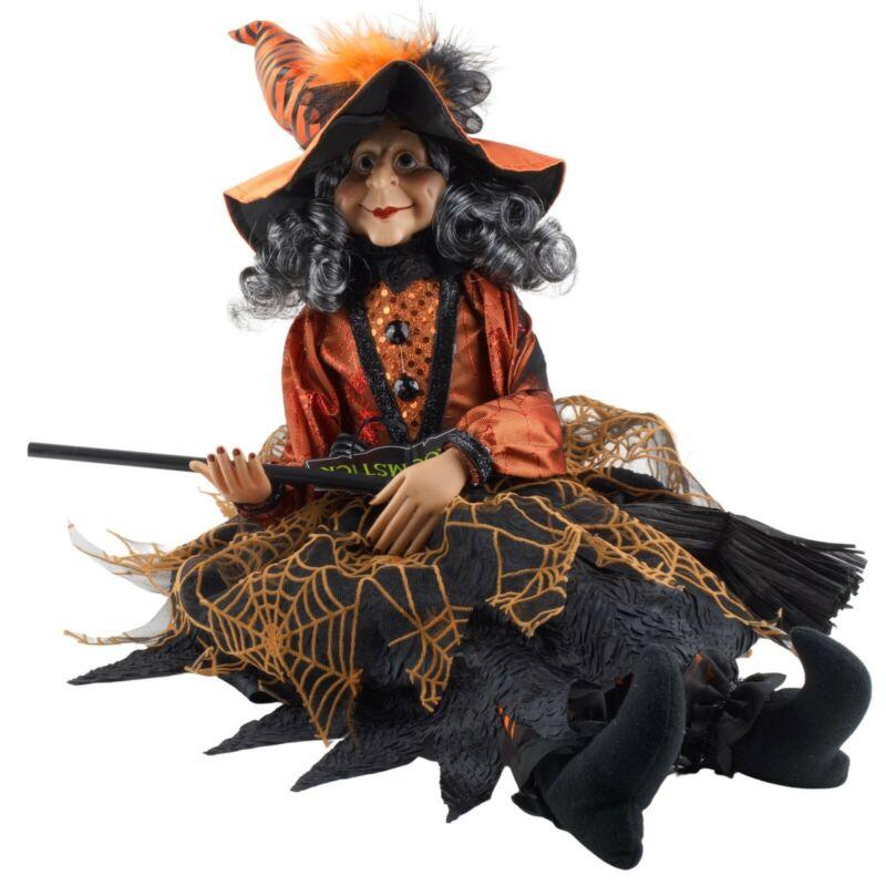 Halloween Victorian Witch Shelf Sitter Doll Figure Orange Black Dress Web Design