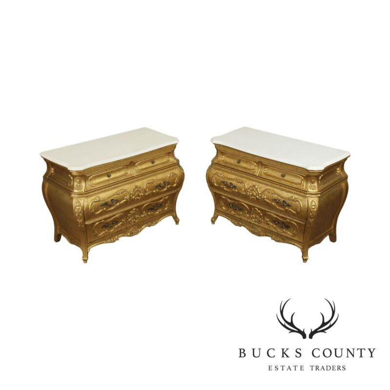French Rococo Style Vintage Pair Gold Bombe Chests, White Marble Tops
