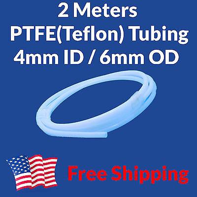 2M Teflon PTFE Tube Tubing 4mm ID 6mm OD 4x6 Bowden Makerbot Filament Guide USA