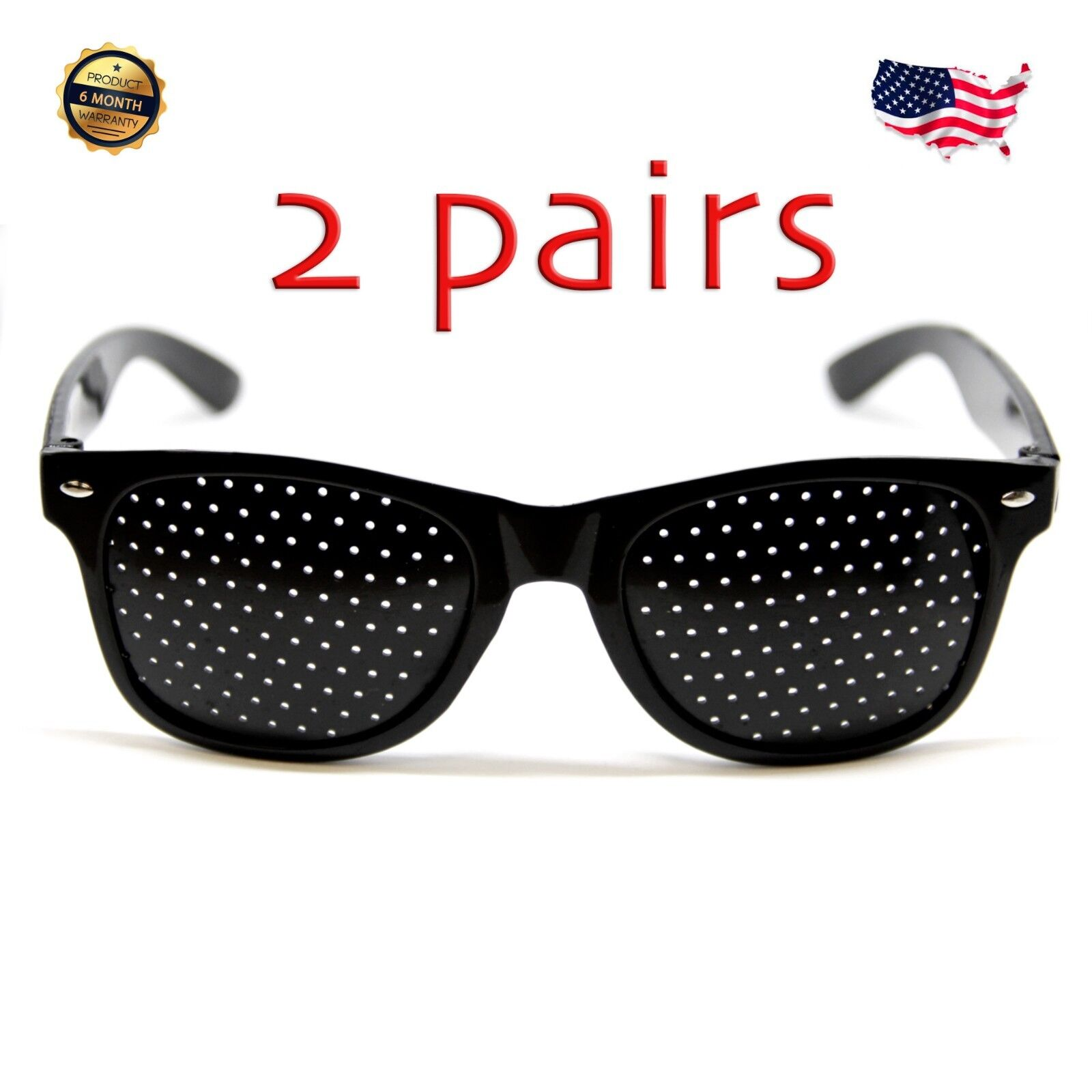 2 pairs of Pinhole glasses vision correction, small holes, eye exercise