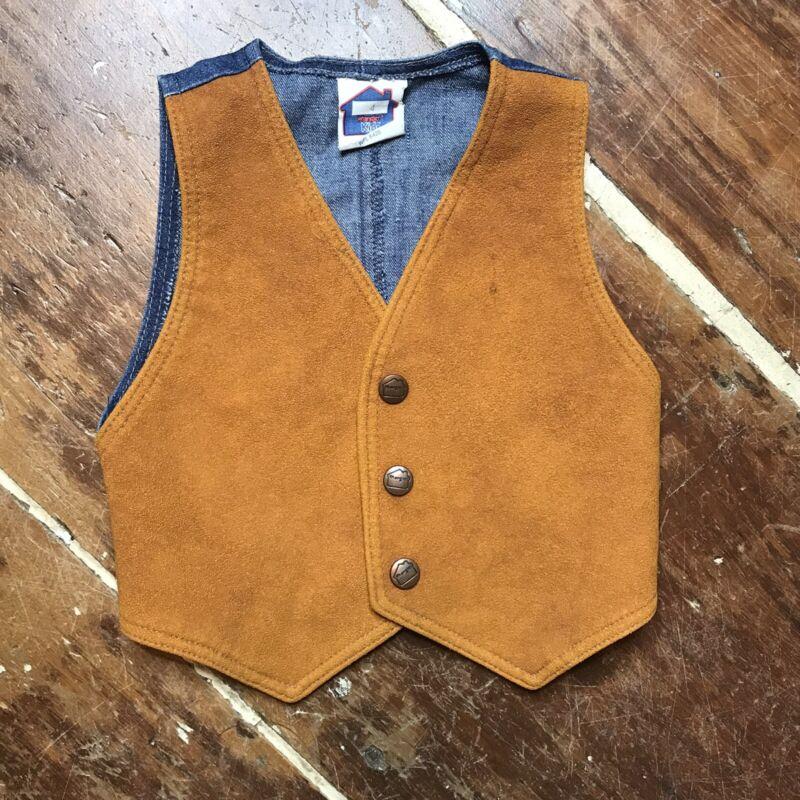 Vintage 80s Wrangler Faux Suede & Denim Vest Boys 3T/4T Snap Front USA Made