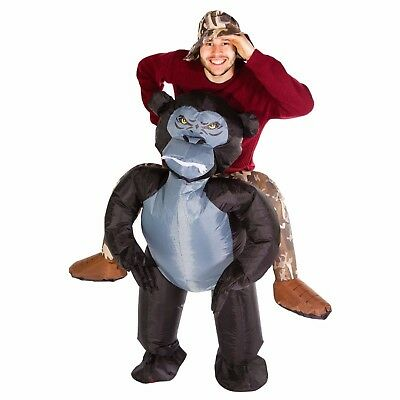 Adult Funny Inflatable Gorilla Ape Monkey Costume Outfit Suit Halloween One Size - Gorilla Suit Halloween