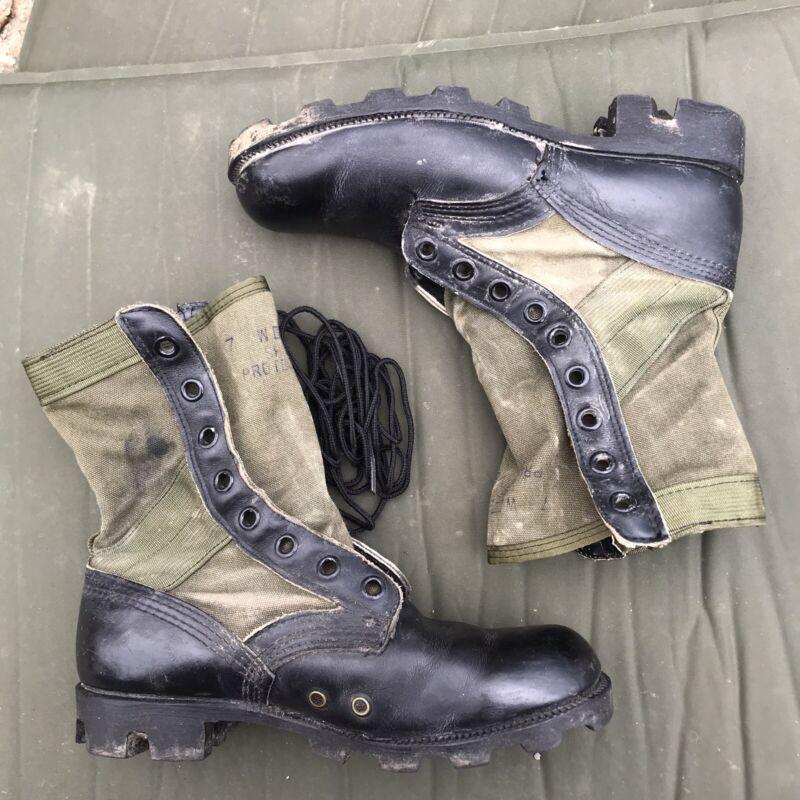 GI 1989 Jungle Boots Green Cloth Side Size Mens 7W Spike Protective